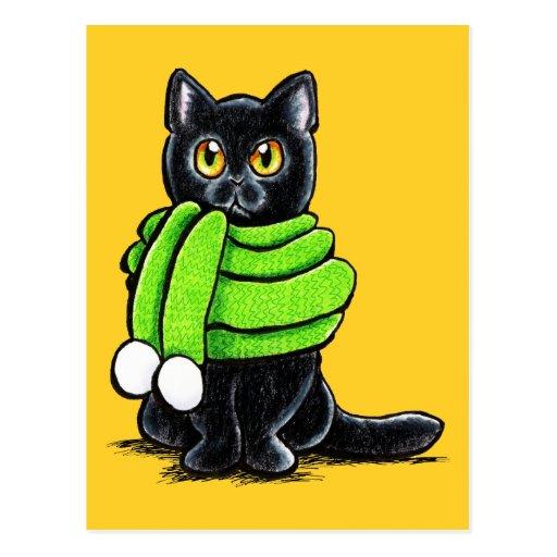 Black Cat Winter Scarf Post Cards