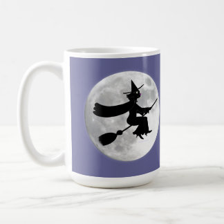 Black Cat Witch on Broom in Front of Moon Basic White Mug