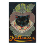 Black Cat Witch Witching Hour Full Moon Poster