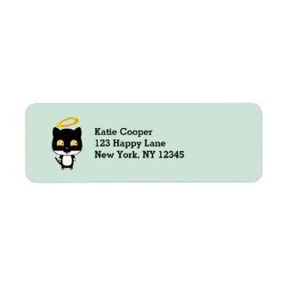 Black Cat With A Golden Halo Cute Cartoon Drawing Return Address Label