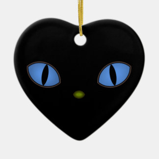 Black Cat With Big Blue Eyes Christmas Ornament