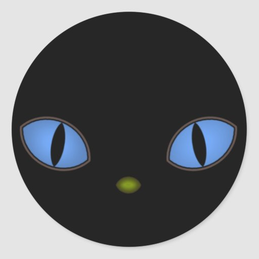 Black Cat With Big Blue Eyes Round Stickers