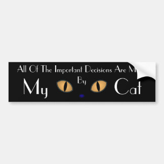 Black Cat With Big Orange Eyes Car Bumper Sticker