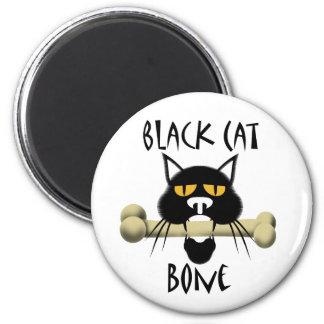 Black Cat With Bone Magnet