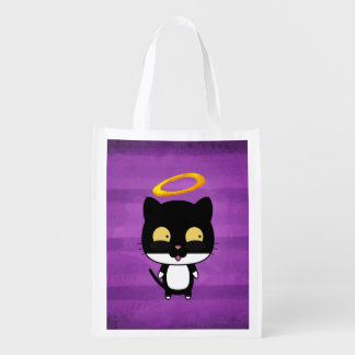 Black Cat With Golden Halo Cute Angel On Purple