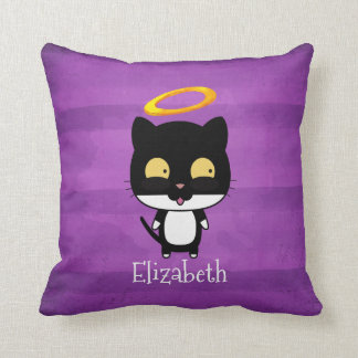 Black Cat With Golden Halo Cute Angel Personalized Throw Pillow