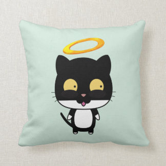 Black Cat With Golden Halo Cute Angel Throw Pillow