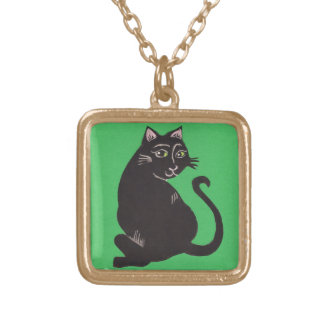 Black Cat with Green Background Necklace