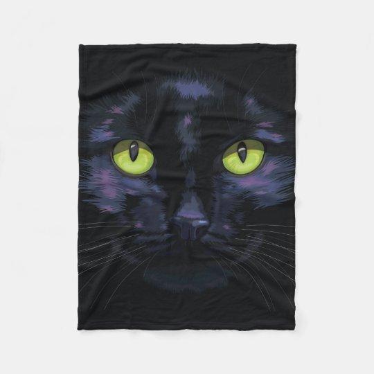 Black cat with green eyes fleece blanket