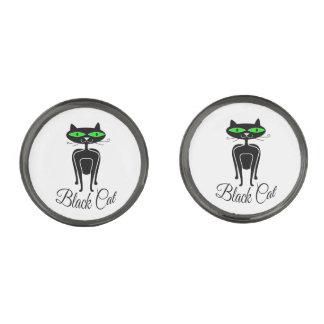 Black cat with green eyes gunmetal finish cufflinks