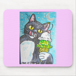 BLACK CAT WITH ICE CREAM MOUSE PAD