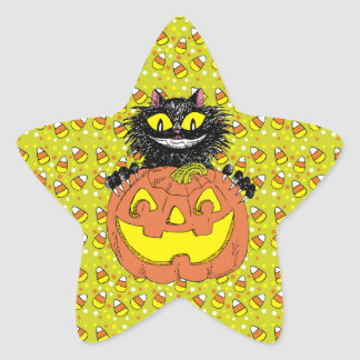 Black Cat with Jack O Lantern in Lime Star Sticker