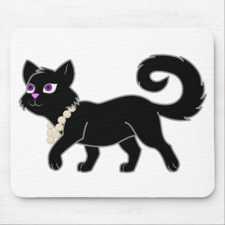 Black Cat with Pearl Necklace Mouse Pad