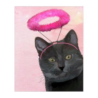 Black Cat With Pink Angel Halo Acrylic Print
