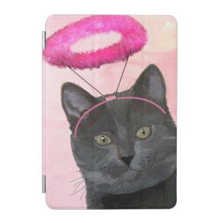 Black Cat With Pink Angel Halo iPad Mini Cover