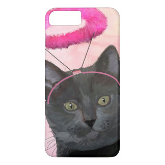 Black Cat With Pink Angel Halo iPhone 8 Plus/7 Plus Case