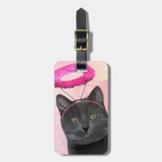 Black Cat With Pink Angel Halo Luggage Tag