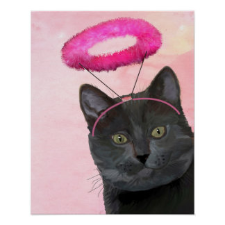 Black Cat With Pink Angel Halo Poster