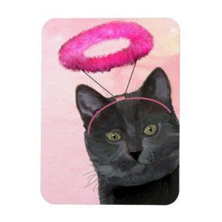 Black Cat With Pink Angel Halo Rectangular Photo Magnet