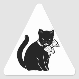 Black Cat With Polka Dot Bow Triangle Sticker