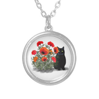 Black Cat with Poppies Necklace