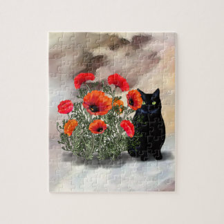 Black Cat with Poppies Puzzle