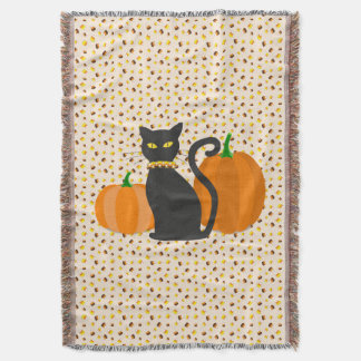 Black Cat with Pumpkins & Candy Corn Halloween Throw Blanket