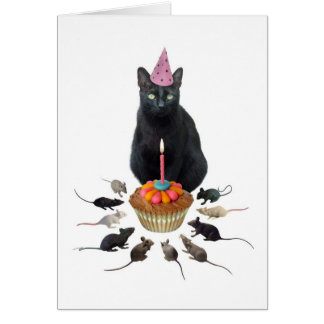 Black Cat with Rats Birthday Card