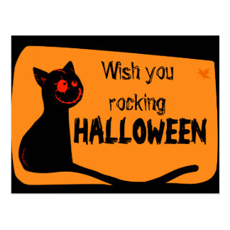 Black cat with red eyes Halloween greeting card Postcard