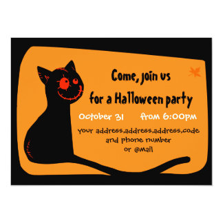 "Black cat with red eyes Halloween invitation card 5.5"" X 7.5"" Invitation Card"