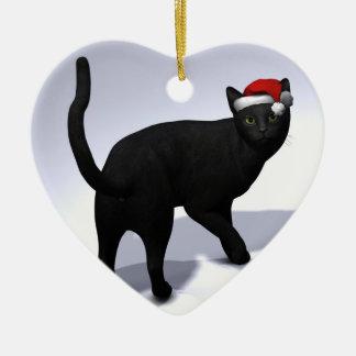 Black Cat with Santa Cap Christmas Ornament