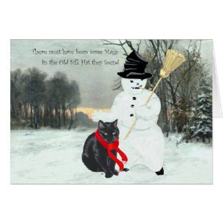 Black Cat with Snowman at Christmas Greeting Cards