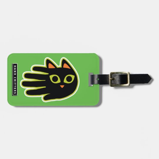 Black Cat with Staring Eyes Bag Tag