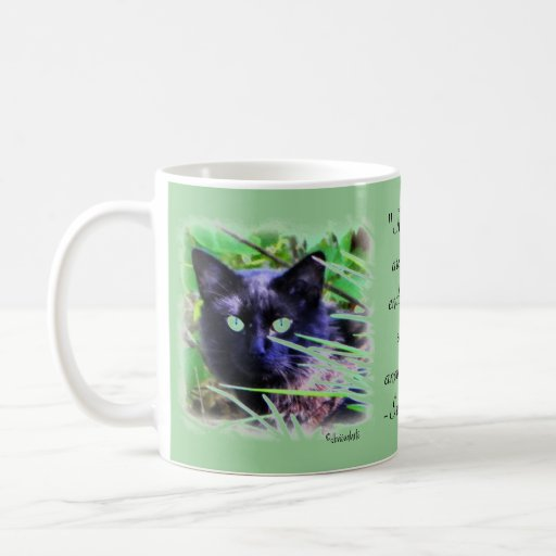 Black cat with striking green eyes basic white mug
