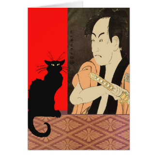 Black CAt With Sumrai Card