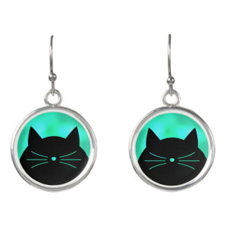 Black Cat with Turquoise Pearl look Earrings
