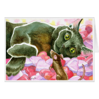 Black Cat with Valentine Hearts Greeting Card