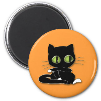 black cat with white socks 6 cm round magnet