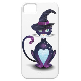 Black cat with witch's hat iPhone 5 cases