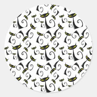 Black Cat with Yellow Eyes Halloween Pattern Round Sticker