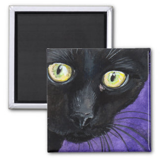 Black Cat with Yellow Eyes Illustration Square Magnet