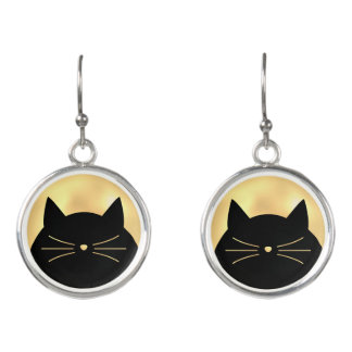 Black Cat with Yellow Gold Pearl look Earrings