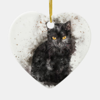 Black Cat Yellow Eyes Christmas Ornament