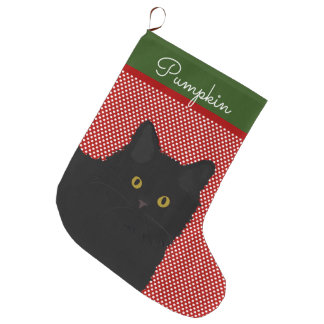 Black Cat Yellow Eyes Personalized Large Christmas Stocking