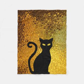 Black Cat Yellow Glass Texture Modern Cat Eyes Fleece Blanket