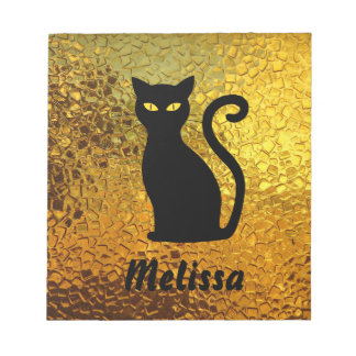 Black Cat Yellow Glass Texture Modern Cat Eyes Notepad