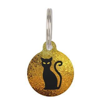 Black Cat Yellow Glass Texture Modern Cat Eyes Pet Name Tag