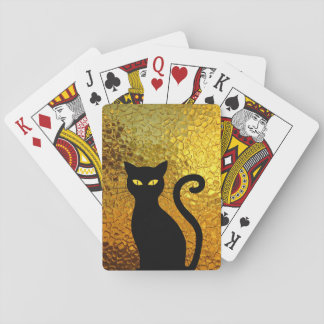 Black Cat Yellow Glass Texture Modern Cat Eyes Playing Cards