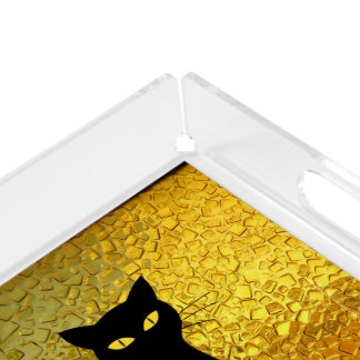 Black Cat Yellow Glass Texture Modern Witchy Acrylic Tray