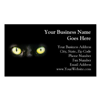 Black Cat, Yellow Green Eyes, Sleek and Spooky Pack Of Standard Business Cards